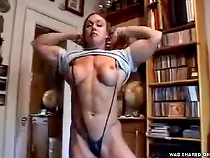 Muscled Colette Nelson Trying On Clothes