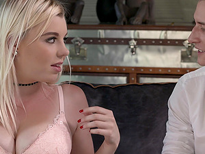 Blondie Mery Monro can't wait to get her hands on two dicks