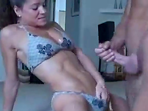 Very fit muscle girl gives a great blowjob