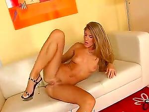 Sexy Jennifer with black dildo