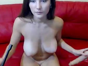 Busty perky tits babe masturbates on cam