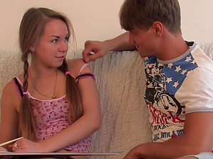Russian blonde teen with pigtails gets a hardcore doggy style fuck