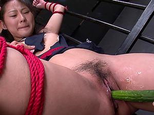 Sub slut Sayaka gets toyed by vegetables and su