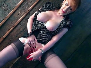 Naughty British mature Red fingers her pussy