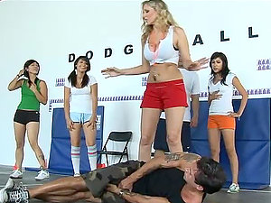 Dodge Ball stunner Julia Ann is eat her coach's testicles