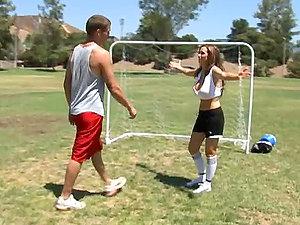 Smoking hot Nikki Benz loses the soccer game but wins in bang-out