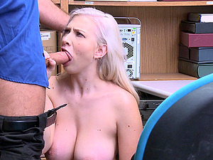 Busty blonde Emily Right doggy style fucked at the office