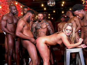 Hardcore interracial gangbang for Candice Dare who gets cum covered