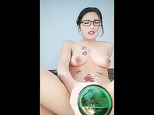hairy Korean cunt stuffed with a bottle