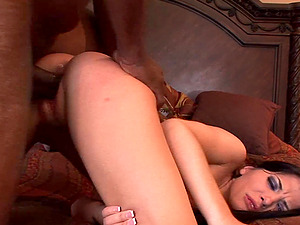 Seductive brunette Latina Rebeca Linares swallows a black guys load