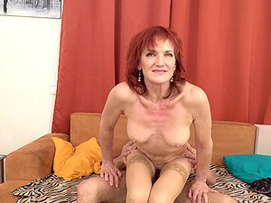 REdhead mature amateur MILF Irena rides cock reverse cowgirl style