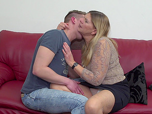Chubby mature blonde amateur Constance pounded hardcore on the couch
