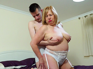 Mature short haired buxom blonde BBW Auntie Trisha fucked missionary