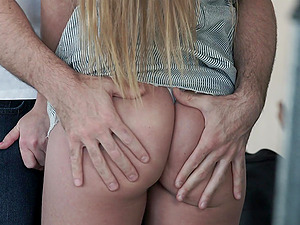 Long haired slender blonde amateur Alexis Crystal pounded doggy style