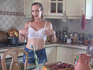 Cute mature amateur model Eve takes off her clothes in the kitchen