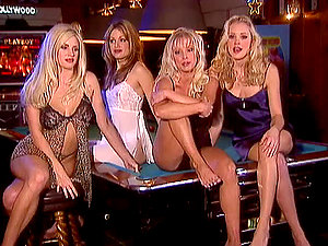 Five fair-haired honies having a pajama soiree in the living room