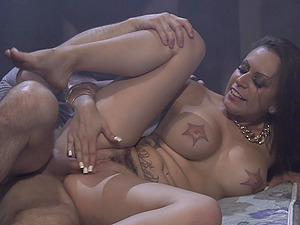 Slut with huge tattooed fake tits Tori Avano fucked from behind