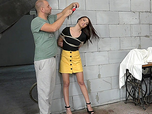 Brunette submissive slut Katy Rose ball gagged, tied up and abused