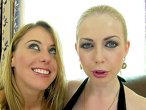 Isabella Clark and Nikky Thorne drill each other's vags with a bat