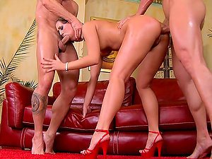 insatiable whore fucked in both slots