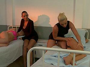 Four kinky damsels have fun g/g games in a hospital ward