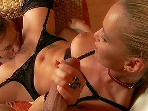 Kathia Nobili and Szilvia Lauren slurp vulvas before sharing a hard-on