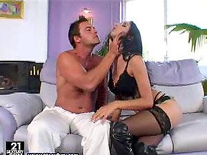 Luxurious black-haired in sexy underwear in buttfuck movie
