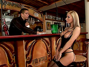 Insane Helena  gets dual penetrated in a bar
