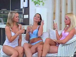 Three horny chicks slurp their honeypots and jugs