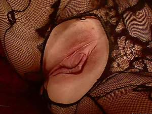 Blonde With Crotchless Pantyhose Tucks Fake penis In Her Gash