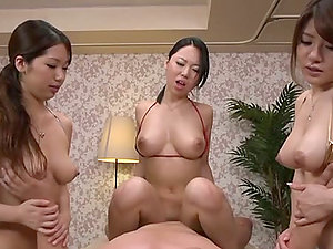 Three Japanese Honies Providing Oral and Vaginal Pleasure to a Dick