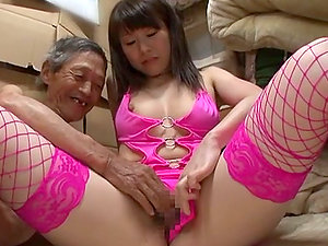 Foxy Japanese Lady Wears Fishnet Stockings to Please and Old Man