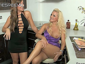 Big-boobed Lesbo Cougars Flicking Their Pleasure buttons and Groping Their Breasts