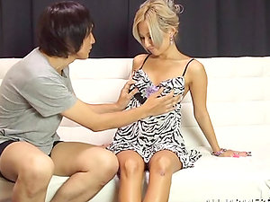 Japanese cutie with dyed hair fucks two dudes and gets a internal cumshot