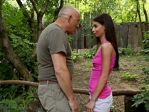 A hot dark-haired teenage frigs her fanny on her uncle's farm