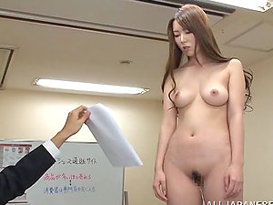 Horny Japanese office chick unclothes and poses naked