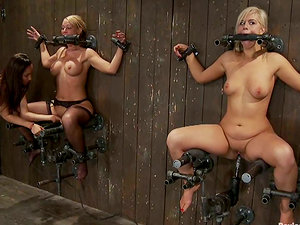 Domme Fucktoy Fucks Two Hot Bounded Honies in Girly-girl Domination & submission