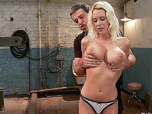 Slender and sexy Riley Evans rails a faux-cock and gets whipped