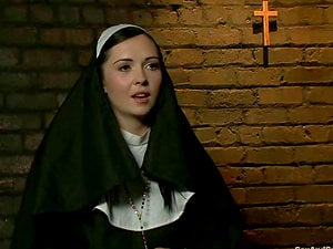 Whorish nun gets tied up and fucked rough by two guys