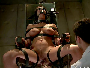 Beverly Hills likes weights on her nips before getting fucked hard