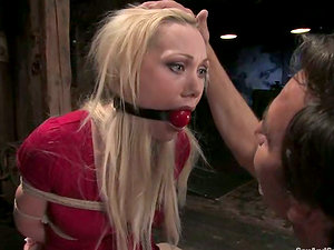 Playful blondie gets suspended and tormented