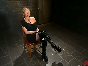 Hot Hump in Kinky Restrain bondage Activity with Gag Ball and Mask for Blonde Stunner