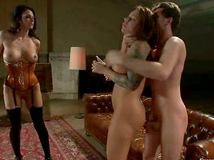 Two honies in corsets fucktoy their booties and get pounded