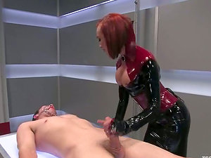 Ginger-haired beauty in spandex is a shemale that loves tormenting fellows