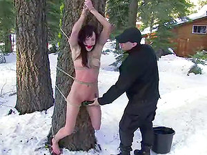 Kristine and Nina like being tormented outdoors in a hot Domination & submission scene
