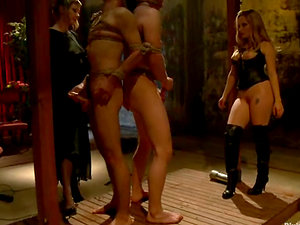 Extreme Restrain bondage and Female dom with Pegging and Spanking with Two Dominantrices