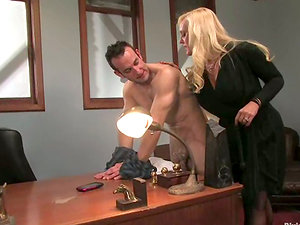 Predominated Boy Gets Strapon Fucked by Big Boobed Alexis Golden in Office