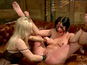 Servant brown-haired Ashley Fires gets tormented and fucked by Roxanne