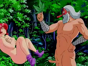 Sandy-haired anime bitch loves having fucky-fucky with a hulk outdoors