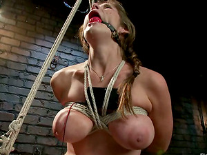 Sapphic Restrain bondage with Big-titted Blonde Tied with Ropes and Tantalized